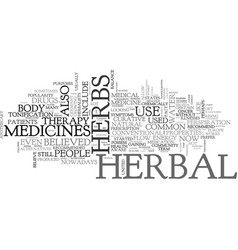 a crash course in herbal medicines text word vector image vector image