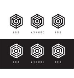 abstract hexagon logo design vector image vector image