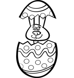 bunny in easter egg cartoon for coloring vector image