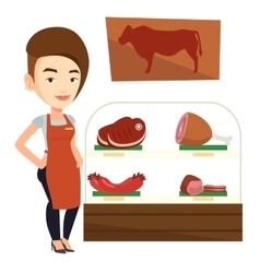 Butcher offering fresh meat in butchershop vector