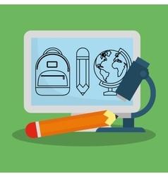 Cartoon computer microscope pencil school vector