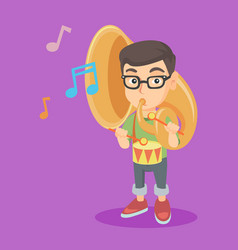 Caucasian kid playing the tuba and the drum vector