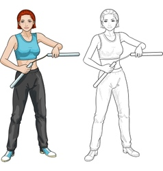 Caucasian nunchuck girl in sport uniform vector