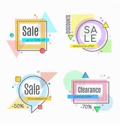 colorful abstract frames for sale styled banners vector image