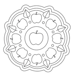 Coloring simple apple mandala vector