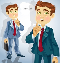 Cute businessman asked to be quiet vector image