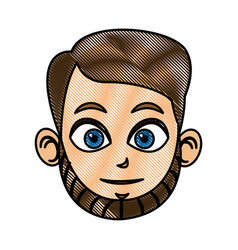 Drawing head man face avatar vector