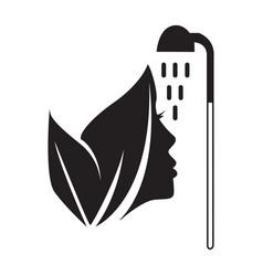 Flat black face spa icon vector