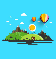 Flat design nature abstract natural scene vector