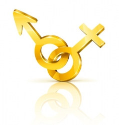 gold male and female symbols vector image vector image