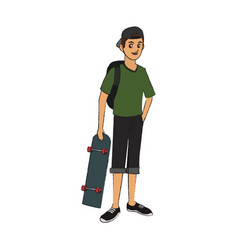 Handsome young man with skateboard icon imag vector