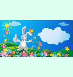 Happy bunny throwing flowers nature field with vector