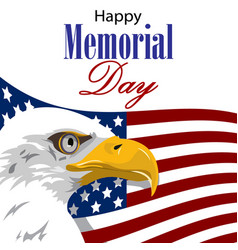 Happy memorial day with american eagle vector