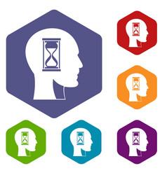 Hourglass in head icons set hexagon vector