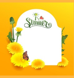 I love summer lettering text yellow flower vector