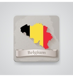 Icon of belgium map with flag vector