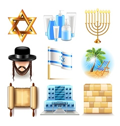 Israel icons set vector image vector image