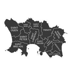Jersey island map labelled black vector