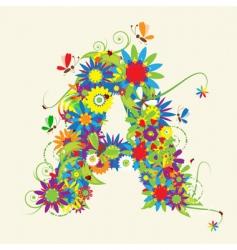 letter A floral design vector image vector image