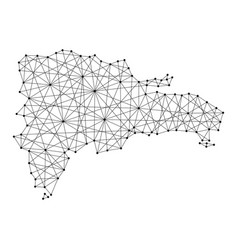 map of dominican republic from polygonal black vector image vector image