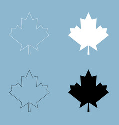 Maple leaf the black and white color icon vector