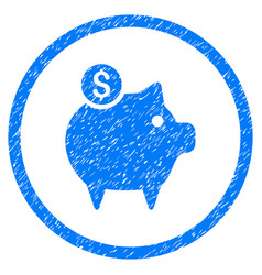 Piggy bank rounded grainy icon vector