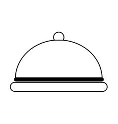 Silver covered platter icon image vector