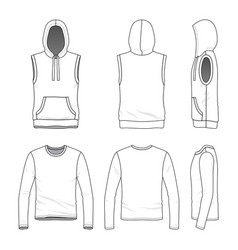 Sleeveless hoody and tee vector
