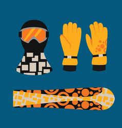 Snowboard sport clothes and tools elements vector