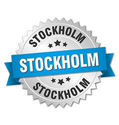 Stockholm round silver badge with blue ribbon vector