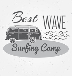 Surfing camp concept summer surfing retro badge vector