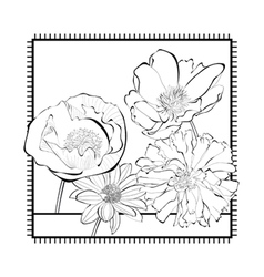 Template for card with decorative flowers vector image