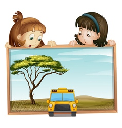 Girls and school bus vector