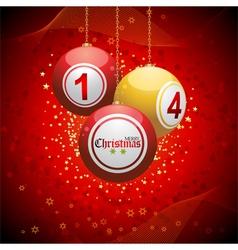 Bingo ball Christmas background red vector image