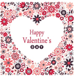 Floral heart card happy valentine day vector