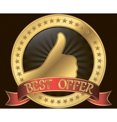 Best offer label with thumb up red ribbon vector image