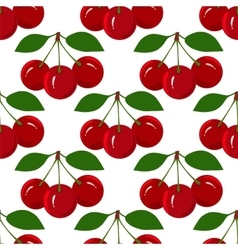 Seamless pattern with juicy ripe cherry fruit vector
