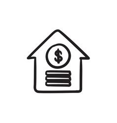 House with dollar symbol sketch icon vector