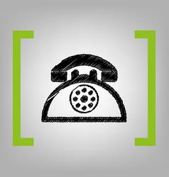 retro telephone sign black scribble icon vector image