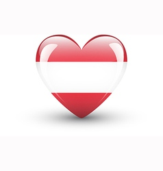Heart-shaped icon with national flag of austria vector