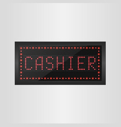 Shining retro light banner cashier sign vector