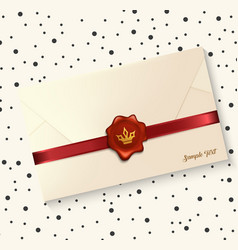 Envelope with red wax seal vector