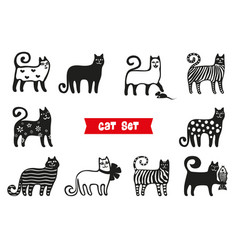 funny cats set black cats silhouette collections vector image