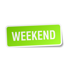 Weekend square sticker on white vector