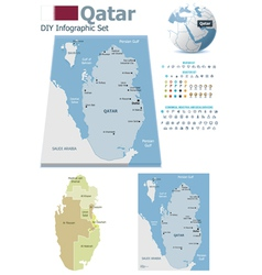Qatar maps with markers vector