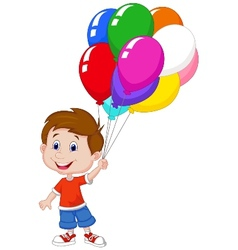 Cartoon boy with bunch of colorful balloons in his vector