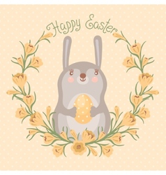 Happy easter card with cute bunny vector