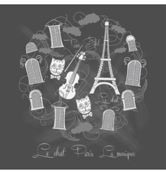 Background with tour eiffel on chalkrboard vector