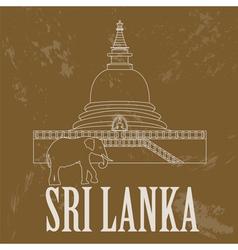 Sri lanka landmarks retro styled image vector