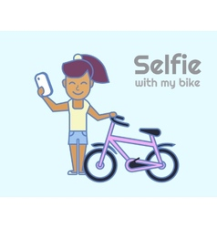 Selfie of young girl with bicycle vector